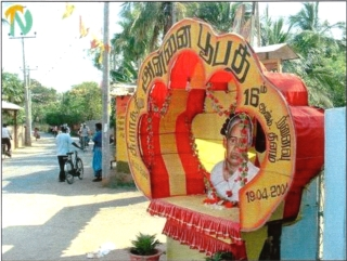 Billboard shrine for Annai Pupati at Junction in Eastern Province, 19 March 2004 - Courtesy of www.TamilNet.com